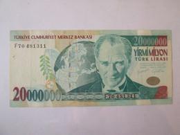 Rare! Turkey 20000000(20 Million) Lirasi 2001 Banknote - Turquie