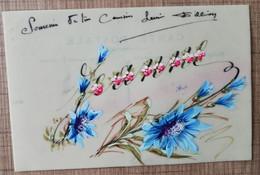 BELLE CPA FANTAISIE CELLULOID PRENOM JEANNE. Fleurs Peintes à La Main - Prénoms