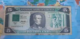 LIBERIA 5 DOLLARS 1989 P19 VG - Liberia