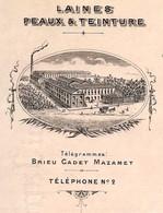 Rare Courrier Commercial Illustré 1904 Laines, Peaux & Teinture BRIEU JEAN CADET 81 LA RICHARDE Près Mazamet Tarn - Kleding & Textiel