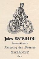 Rare Courrier Commercial Illustré 1910 Jules BATAILLOU Serrurier-Mécanicien Réparations De Bicyclettes 81 MAZAMET Tarn - Ambachten