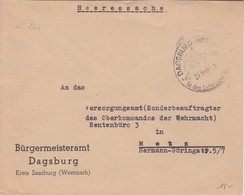 Lettre Pré-imprimée De La Mairie De Dabo (T340 Dagsburg Westm) En Franchise Le 27/9/43 Pour Metz - Alsazia Lorena