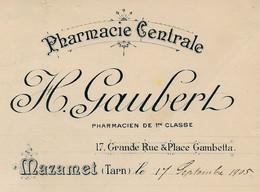 Résultat D'Analyses Sur Courrier Commercial Illustré 1905 PHARMACIE CENTRALE H. GAUBERT 81 MAZAMET Tarn * Caducée - 1900 – 1949