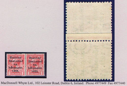 Ireland 1922 Harrison Rialtas Coils 1d Horiz Coil Join Pair, Right Stamp With PO Of POSTAGE Watermark Mint Unmounted - Unused Stamps