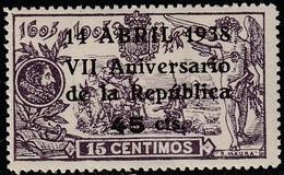 1938. * Edifil: 755. VII ANIVERSARIO DE LA REPUBLICA - 1931-50 Unused Stamps