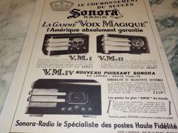 ANCIENNE PUBLICITE RADIO SONORA 1937 - Altri