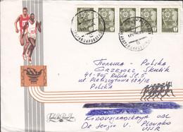 Soviet Union KOROVOGNADSKAYA 1990? Cover Brief Poland Sports Running Cachet Olympic Games? 5-Stripe Franking - Brieven En Documenten