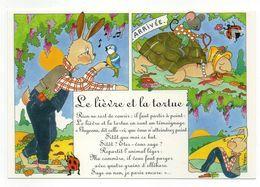 CPM   -     ILLUSTRATION SOPHIE HEON -  SERIE FABLES  -   LE LIEVRE ET LA TORTUE - Fairy Tales, Popular Stories & Legends