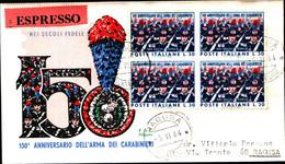 22758)  ITALIA-FDC 30 LIRE150º Anniversario Dell'arma Dei Carabinieri - 5 Giugno 1964 IN QUARTINA - 6. 1946-.. Republic