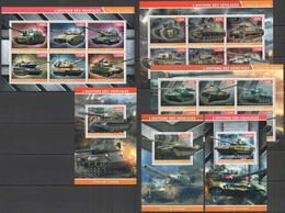 PE1113-14+1142 2015 TRANSPORT HISTORY MILITARY & WAR TANKS 3BL+3KB MNH - WW2