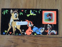"WALT DISNEY BAMBI - HOLOGRAMME ""MICKEY"" - CARTE FEUTREE / FEUTRINE VERS 1960 - Altri"