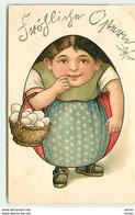 N°13937 - Carte Gaufrée - Femme En Forme D'oeuf Portant Un Panier Rempli D'oeufs - Easter