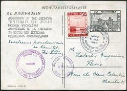 Austria 1946 WW2 KZ-Lager MAUTHAUSEN Liberation Anniversary Anti-Nazi Propaganda Censored Charity Postcard WWII >France - WW2