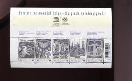 Belgie Blok Feuillet BL168 UNESCO PLAATNUMMER 3 World Heritage Brugge Brussel Horta Tournai Spiennes - Blocks & Sheetlets 1962-....