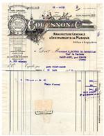 Facture De 1928 De Manufacture Générale D'Instruments De Musique, COUESNON & Cie à Paris, Fanfare De St MONT, Trompes - Sonstige