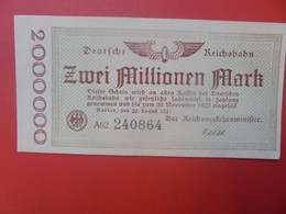 Reichsbahn 2 MILLIONEN 1923 Circuler (B.14) - 2 Millionen Mark