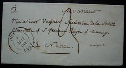 Bourgaltroff 1845 Moselle (Meurthe) Lettre Pour Nancy, Cad  T 14 De Dieuze - 1801-1848: Precursors XIX
