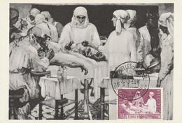Carte Maximum -  S.M. La Reine Elisabeth Assistant Les Professeurs Depage Et Debaisieux à L'ambulance De La Panne - 1951-1960