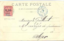 MADAGASCAR TAMATAVE TàD Bleu 19 OCT 1902 Sur TIMBRE GROUPE SURCHARGE 0,10 C Sur 50 C. N°53 Type I - Cartas