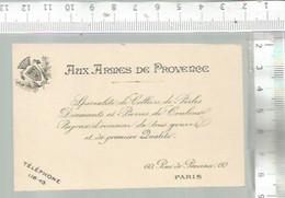 XD / Vintage // CARTE ANCIENNE Publicitaire @@ AUX ARMES DE PROVENCE  @@ COLLIER DE PERLE DIAMANT BIJOUX @@ PARIS - Cartes De Visite
