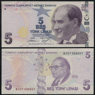 ♛ TURKEY - 5 Lirasi L.1970 - 2009 {series B} {purple Color} UNC P.222 B(1) - Turquie