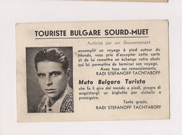 CARTE DE VISITE TOURISTE BULGARE SOURD MUET - - Cartes De Visite