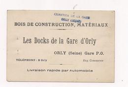 """CARTE DE VISITE  BOIS DE CONSTRUCTION """"LES DOCKS DE LA GARE D'ORLY """" - Cartes De Visite"""