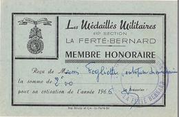 """PETIT CARTON """"LES MEDAILLES MILITAIRES """"  692è. Section - LA FERTE BERNARD - Membre Honoraire - - Documents"""