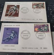 2 FDC Niger Cosmonautes Leonov White Espace 1966 - Unclassified