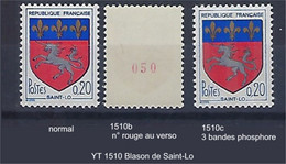 "FR Variétés YT 1510 1510b 1510c "" Blason Saint-Lo "" Voir Détail - Varieteiten: 1960-69 Postfris"