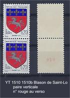"""FR Variétés YT 1510 & 1510b Paire Verticale  """" Blason Saint-Lo """" Paire Dont 1 N° Rouge - Varieties: 1960-69 Mint/hinged"""
