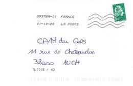 MARIANNE L ENGAGEE N° 5252 (ADH. 1598)  SUR LETTRE  DU 1.10.20  // SANS PHOSPHORE // - 2018-... Marianne L'Engagée