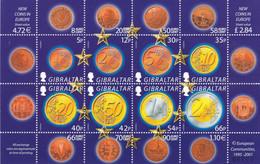 GIBRALTAR :  Bloc Feuillet Monnaies Euro  2001 Neuf XX  MNH - Coins