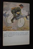 Italia Cartolina Postale Italiana In Franchigia Illustrator Finozzi / Annullata WW1 Bicycle - Guerra 1914-18