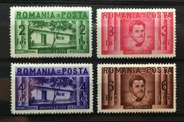 (528) ROMANIA 1937 : Sc# 463-466 CREANGA WRITER - MH - Unused Stamps