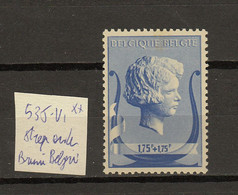 Belgie - Belgique Ocb Nr : 535 - V1 ** MNH   (zie  Scan) Bruni Faciale - Errors (Catalogue COB)