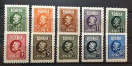 (827) ROMANIA 1926 : Sc# 291-301 KING FERDINAND - MH - Unused Stamps