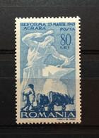 (2125) ROMANIA 1946 : Sc# 599 BLACKSMITH AND PLOWMAN - MNH VF - 1918-1948 Ferdinand, Charles II & Michael