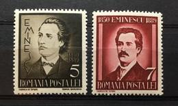 (836) ROMANIA 1939 : Sc# 491-492 MIHAIL EMINESCU POET - MNH VF - Ongebruikt