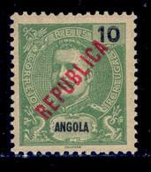 ! ! Angola - 1914 D. Carlos Local Republica 10 R - Af. 158 - MH - Angola