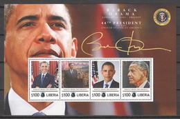 Liberia - MNH Sheet AMERICAN PRESIDENTS - BARACK OBAMA 2009-2017 - Autres