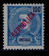 ! ! Angola - 1914 D. Carlos Local Republica 100 R - Af. 162 - MH - Angola