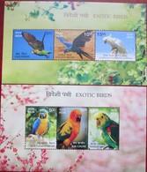 INDIA  2016  EXOTIC BIRDS  PARROTS  2 S/S   MNH - Parrots
