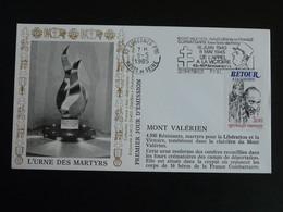 Lettre FDC Cover Mont Valérien Flamme Concordante De Gaulle Suresnes 92 Hauts De Seine 1985 - Guerre Mondiale (Seconde)