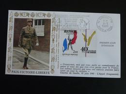 Lettre FDC Cover General De Gaulle Flamme Concordante Suresnes 92 Hauts De Seine 1985 - De Gaulle (General)