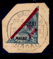 ! ! Macau - 1911 D. Carlos 5 A (Half Stamp On Paper) - Af. 146 - Used - Oblitérés