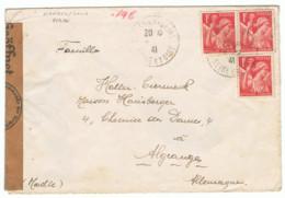 1f Rouge Iris Yvert 433 Sur Lettre Pour L'Allemagne, 1941, Avec Censure Allemande - 1939-44 Iris