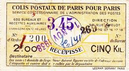 France Colis Postaux Récépissé Paris Pour Paris Surchargé 3F45 Sur 2F00 Pour 5 Kgs. - Sonstige