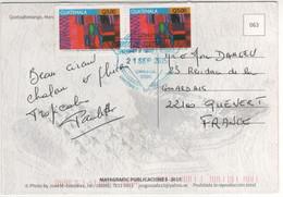 Beaux Timbres , Stamps  ( 1 Avec Coin Abimé ) Sur Cp , Carte , Postcard Du 21/09/2015 Pour La France - Guatemala
