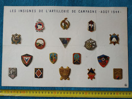 Affiche Les Insignes De L'artillerie De Campagne Août 1944 CEFI Armée De Libération Afrique - Documents